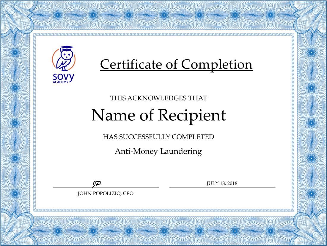 Anti Money Laundering Online Training Sovy