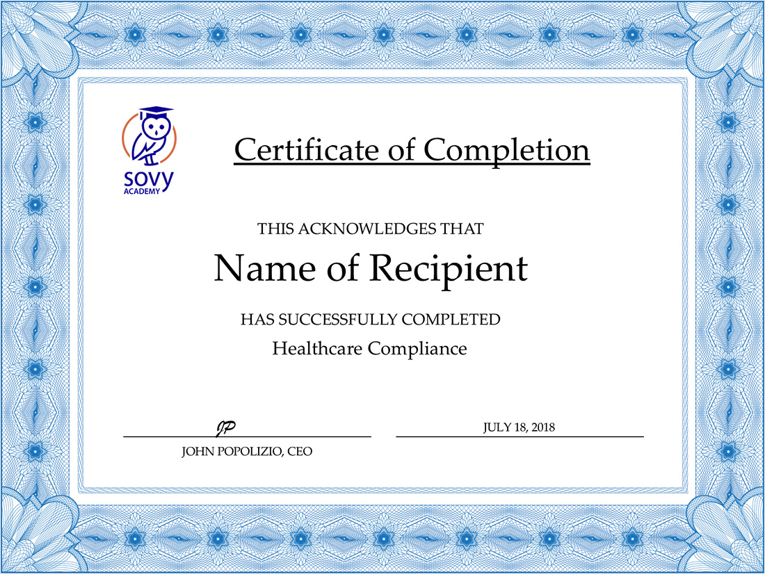 Healthcare Compliance And Hipaa Online Training Sovy